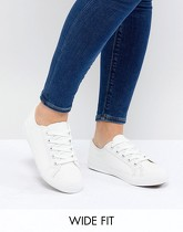 New Look Wide - Baskets à lacets - Blanc