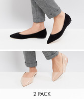 ASOS - LATCH - Lot de deux paires de ballerines pointues - Multi