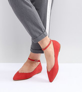Faith Wide Fit - Ally - Chaussures plates à bout pointu - Rouge - Rouge