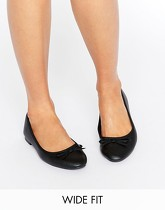 New Look - Ballerines pointure large en similicuir - Noir