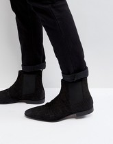 Pier One - Bottines Chelsea fines en daim - Noir - Noir
