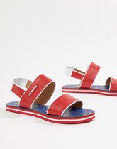 Love Moschino - Sandales Colour Block - Rouge