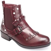 Bottines La Modeuse Bottines chelsea bordeaux détails franges et bijoux