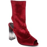 Bottines La Modeuse Bottines peep toes bordeaux en velours