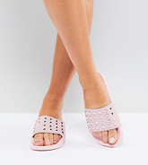 Truffle Collection - Mules cloutées pointure large - Rose