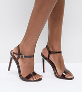 ASOS - HANDS DOWN - Sandales minimalistes pointure large à talons - Marron