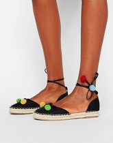 London Rebel - Espadrilles à pompons - Noir