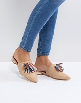 Glamorous - Mules pointues à pampilles - Multicolore - Beige