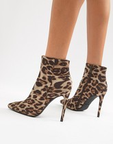 PrettyLittleThing pointed stiletto heel boots in leopard - Multi