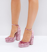 ASOS - PING - Chaussures plateforme à talons pointure large - Rose