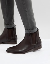 ASOS - Bottines Chelsea en similicuir avec empiècement - Marron - Marron