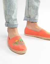 ASOS DESIGN - Espadrilles brodées - Orange - Orange