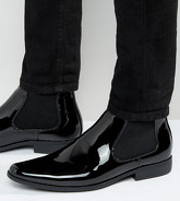 ASOS - Bottines Chelsea vernies pointure large - Noir - Noir