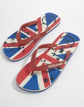 Jack & Jones - Tongs motif drapeau britannique - Rouge