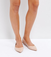 ASOS DESIGN - Latch - Ballerines larges plates pointues - Beige