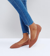 ASOS DESIGN - Latch - Ballerines larges plates pointues - Marron