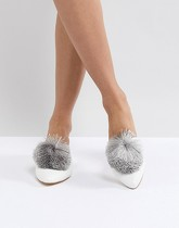 Truffle Collection - Mules à pompons - Blanc