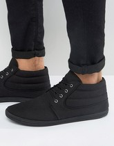 ASOS DESIGN - Bottines chukka en toile - Noir - Noir