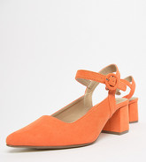 Missguided - Chaussures pointues imitation daim à talons carrés - Orange