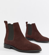 ASOS DESIGN - Aura - Bottines Chelsea en daim - Rouge